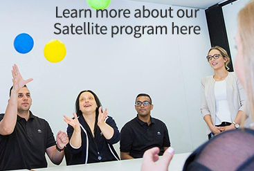 Satellite graduates button