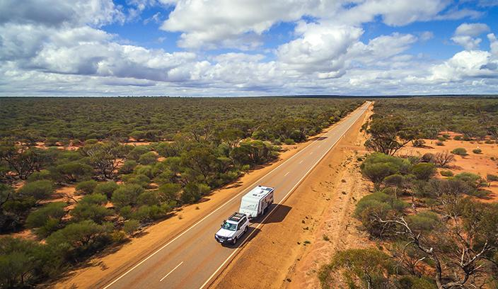 Car driving in outback